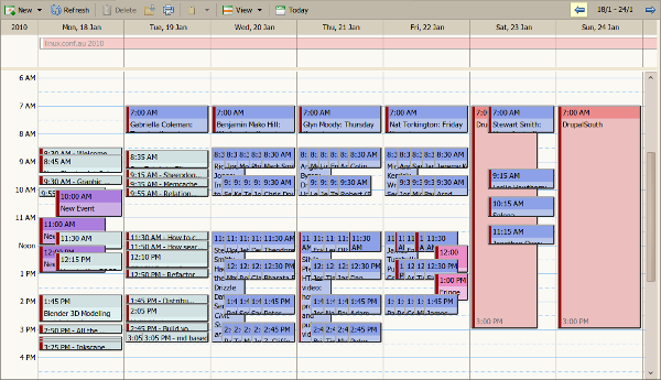 iCal Representation of LCA2010 and two miniconfs