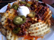 Chilli cheese waffles fries.